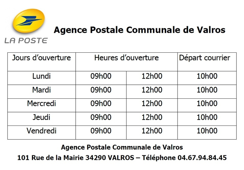 Horaires Agence Postale